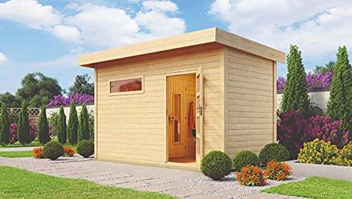 FinnTherm Saunahaus Lycka Gartensauna mit 38 mm Wandstärke Sauna Außensauna Flachdach