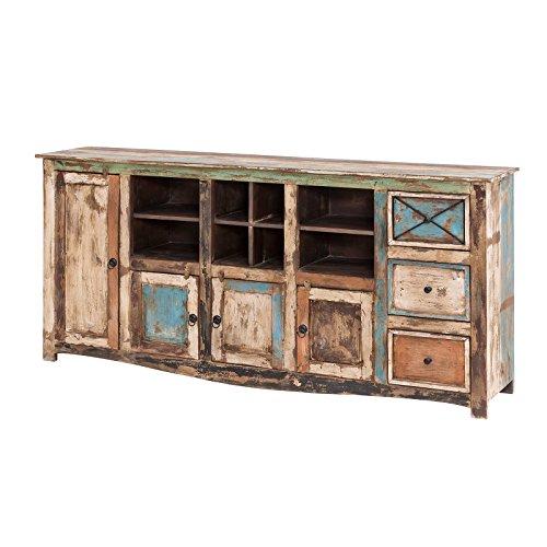 MÖBEL IDEAL Sideboard Vintage Holz Bunt Massiv bemalt lackiert Kommode 193 cm Breit Mango Massivholz