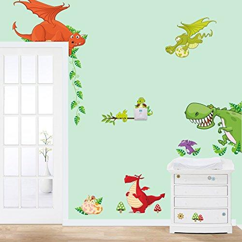 Stickerkoenig Wandtattoo Kinderzimmer Dinosaurier Drachen Dinos bunte Wandsticker Wandaufkleber Deko #002