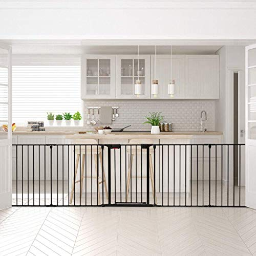 Costzon Baby Safety Gate, 115 Inch Length 5 Panel Adjustable Wide Fireplace Fence, BBQ Metal Fire Gate, Pet Isolation Fence with Walk-Through Door, Freestanding Hearth Gate (Black, Small)