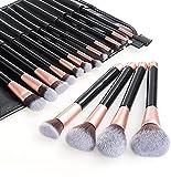 Pennelli Make up per il Trucco Professionali Set di 16 Spazzole Viso Volto Ombretti con Soffici Fibre Sintetiche, Oro Rosa