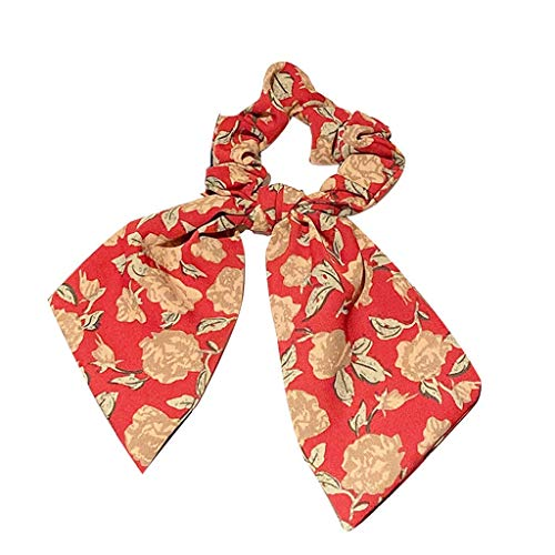 XZJJZ Mujeres cola de caballo corbatas de pelo bufanda elástica cuerda para el cabello para las mujeres arco del pelo corbatas scrunchies bandas para el cabello flor de la flor de la cinta de la cinta