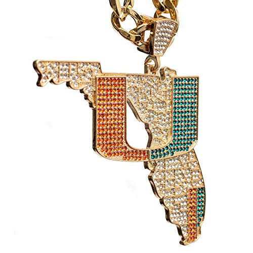 Miami Hurricanes Turnover Chain 4.0 - State of Miami Limited Edition 18K Gold Plated Pendant - (5