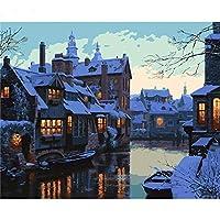 YTHSFQ 数字キットによる 氷と雪の町 DIYの油絵の素材パッケージは、初心者と大人がキャンバスに番号 ペイントすることを目的 40x50cm フレームレス