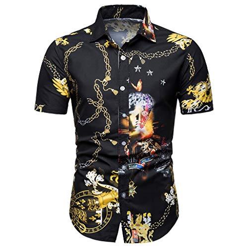 Herren Sommerhemden Kurzarm Hemd XXL Stylische Hemden Polo Braunes Coole Signum JupiterMänner Sommer Bohe Floral Kurzarm Basic T-Shirt Bluse Top Plus Size