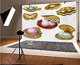 Fondo de vinilo para fotógrafos de perlas de 20 x 10 pies, con diferentes tipos de perlas, riqueza, piedras preciosas antiguas del mar, para bebé, cumpleaños, boda, graduación, decoración del hogar