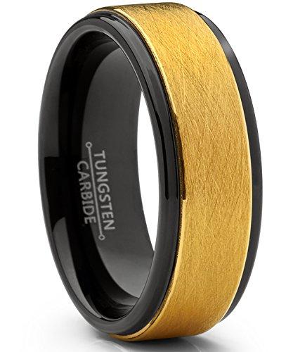 Ultimate Metals Co. 8mm Herren Schwarz und Gold Wolframcarbid Ehering Gebürstet, Bequemlichkeit Passen Größe 61