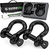 """Rhino USA D Ring Shackle (2 Pack) 41,850lb Break Strength – 3/4"""" Shackle with 7/8 Pin for use..."""