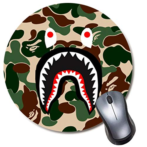 Round Gaming Mouse Pad Green Camo Shark, Computer Mousepad for Laptop and Desktop, Cute Funny Mouse Mat for Kid and Office Gift