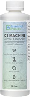 Essential Values Ice Machine Cleaner 16 fl oz, Nickel Safe Descaler | Ice Maker Cleaner Compatible with: Whirlpool 4396808, Manitowac, Ice-O-Matic, Scotsman, Follett & more! - Made in USA