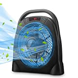 GDY Portable Box Table Fan with Remote Control, 18 Inch Quiet Floor Fanwith Adjustable Speeds & Automatic Shutoff Timer