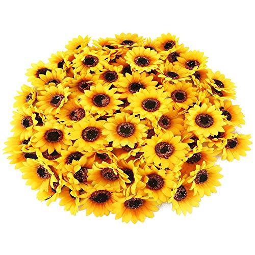XHXSTORE 100 Stücke Künstliche Sonnenblumen Köpfe 4cm Seide Klein Sonnenblumen Kunstblumen Blumenköpfe Gefälschte Blumen Deko für Hochzeit Party Tischdeko DIY Basteln Kleidung Dekoration