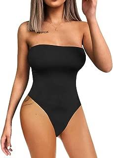 YMDUCH Women's Sexy Strapless Bodysuit One Piece Triangle Off Shoulder Leotard
