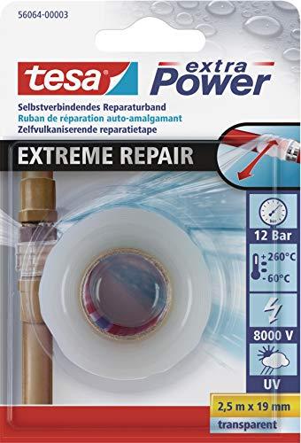 tesa extra Power Extreme Repair Reparaturband - Selbstverschweißendes Reparaturband aus Silikon zum Isolieren und Abdichten - 2,5 m - Transparent