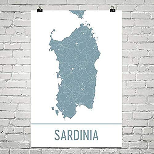 Moderne kaart Kunst Sardinië Kaart, Sardinië Kunst, Sardinië Print, Sardinië Island Poster, Geschenken, Kaart van Sardinië, Mediterrane Eilanden, Mediterrane Poster