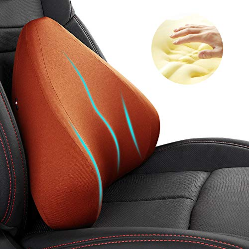 QBUC Lumbar Support Pillow, Memory Foam Back Cushion Pillow for Office Chair, Relieve Back Pain and Muscle Tension, Improve Computer Posture, Suitable for Cars and Office Chairs (Brown)
