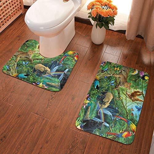 Almohadilla antideslizante para baño Animales Elefante Loro Alfombra de baño estampada Juego de alfombrillas suaves de 2 piezas Alfombrilla de baño + Contorno de absorción de agua 40x60cm