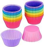 Pirottini per cupcake, confezione da 24, riutilizzabili, in silicone, per la cottura di muffin, cupcake, gelati, budini, multicolore,Colore casuale