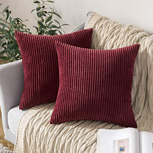 MIULEE Set of 2 Striped Corduroy Square Throw Pillow Case Soft Cushion Cover Sham Home for Sofa Chair Couch/Bedroom Decorative Fluffy Large Pillowcases 18x18 Inch 45x45cm Burgundy