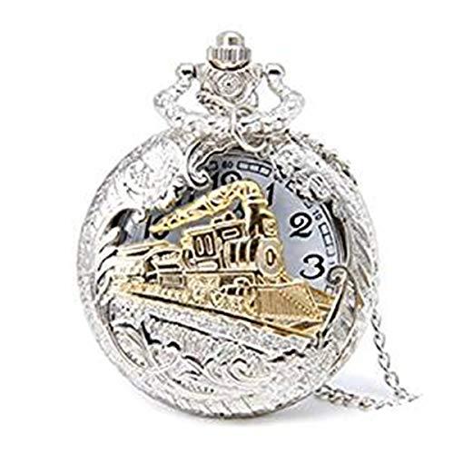 Shangwelluk orologio da tasca al quarzo Hollow treno a vapore in stile antico fiore vuoto