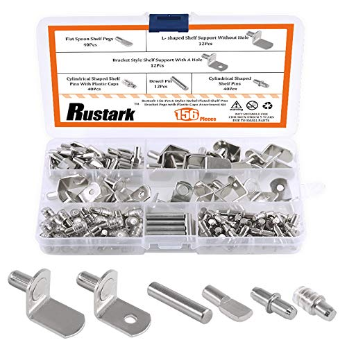 Rustark 156 Pcs 6 Styles Nickel Plated Shelf Pins Bracket Pegs with Plastic Caps Cabinet Furniture Shelf Pin Support Assortment Kit Perfect for Shelf Holes