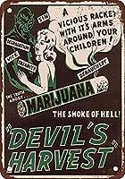 マリファナの悪魔の収穫 金属板ブリキ看板警告サイン注意サイン表示パネル情報サイン金属安全サイン