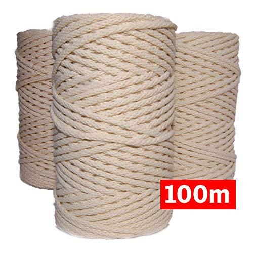 Cuerda macrame trenzada de algodón 100%, 100m, 4mm, color