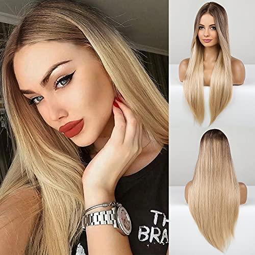 HAIRCUBE Peluca rubia larga recta , pelucas sintéticas para mujer, pelucas resistentes al calor de parte media de raíz marrón natural, ropa de cosplay diaria