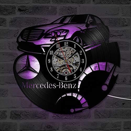 JXWH Mercedes-Benz Auto Logo Vinyl Rekord Wanduhr Dekoration hängen Vintage Uhr Wanduhr Home Dekoration Geschenk an Autoliebhaber