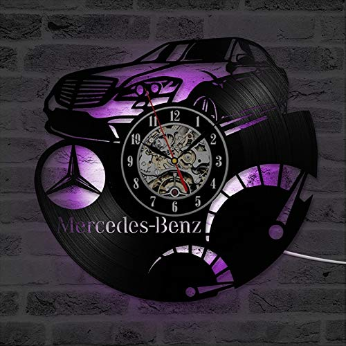 Welle Projektor Nachtlicht Lampe Benz Auto Logo Schallplatte Wanduhr 3D Dekoration Hängen Vintage Uhr LED Wanduhr Dekoration Geschenk für Auto Liebhaber Tischlampe Glaskugel