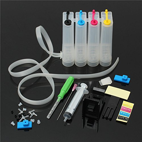 Tiptiper DIY 4 Farben Nachfüllbare Farbstoff Tintenpatrone CISS Passt mit Canon Serie Drucker Kunststoff bunt für Drucker
