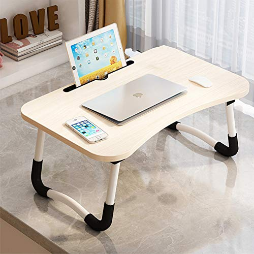 Foldable Laptop Bed Table, Lap Desk Bed Tray Desk for Laptop and Writing, Folding Laptop Stand Laptop Desk for Bed & Sofa, Breakfast Serving Bed Tray for Watching Movie Or As Personal Dining Table