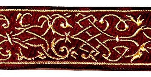 10m Mittelalter Borte Webband 35mm breit Farbe: Bordeaux-Gold von 1A-Kurzwaren 35002-bogo