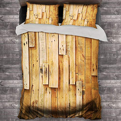 Miles Ralph Wooden Duvet Cover Lodge Style Teak Hardwood Wall Planks Image Print Farmhouse Vintage Grunge Design Artsy Bedding Duvet Cover 68'x86' inch Amber