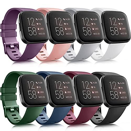 AMK 8 pulseras compatibles con Fitbit Versa 2 / Fitbit Versa, correa de repuesto de silicona suave para Fitbit Versa/Versa 2/Versa Lite (8 unidades, C, S)