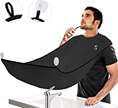 SYOSIN Upgrade Beard Apron Cape for Men Shaving and Trimming with Suction Cups Adjustable Neck Straps Hair Clippings Catcher Grooming Beard Apron Perfect Gifts for Men(Black)