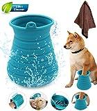 Idepet Hunde Pfote Reiniger,Haustier Pfotenreiniger mit Handtuch Dog Paw Cleaner für Hunde Katzen Massage Pflege Schmutzige Klauen (Blau)