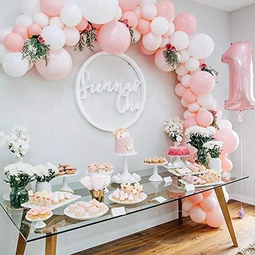 specool 100pcs Rosa y Blanco látex Globos,Globos de Fiesta Bodas Ducha Nupcial Fiesta de Cumpleaños Fiesta de Oro Rosa Decoraciones para Fiestas