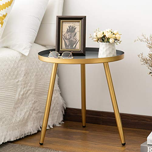 Round Side Table, Metal End Table, Nightstand/Small Tables for Living Room, Accent Tables Cheap,...