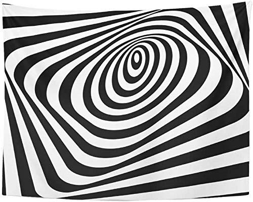 Espiral abstracto retorcido en blanco y negro Óptico de rayas torcidas distorsionadas Túnel 3D Vortex Círculo Tapiz Colgante de pared 150x200cm / 59x79inchch