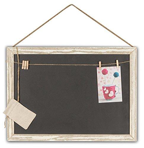 levandeo Memotafel Memoboard 55x40cm Tafel Wandtafel aus Holz in weiß gewischt mit Klammern & Kordeln zum Hängen - Landhaus Vintage Shabby Kreide Kreidetafel Küchentafel Wäscheklammer