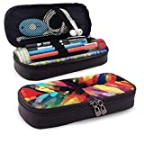 XCNGG Estuche para lápices neceser Colorful Dream PU Leather Pencil Case School Office Use Zipper Stationery Organizer