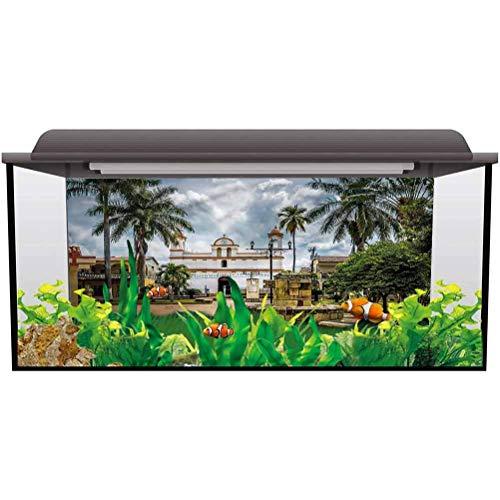 Aquarium Background Sticker Travel,Mayan Town with Palms PVC Adhesive Decor Paper Sticker L24 X H16 Inch