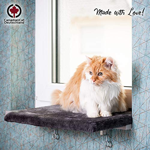 CanadianCat Company ® | Snuggly Place | Medium | Anthrazit | gepolsterte Liege- Aussichtsplattform | ca. 50x35 cm