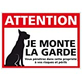 Panneau Attention Je Monte la Garde - Double Face Autocollant au Dos + Protection anti-UV - Dimensions 300x210 mm - Plastique rigide PVC 1,5 mm