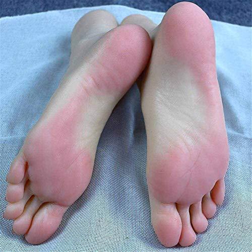 XHH 1 Par Pie de Silicona,Feet Foot Fetishes,Afición del Tobillo Maniquí de Silicona Pie Fetichismo del pie Modelo de pie de una niña Juguete