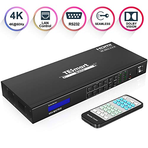 TESmart Ultra HD 4K HDMI 4X4 Matrix Switcher 4 Port Input and 4 Port Output with RS232 IR Remote Control Supports 4Kx2K@60HZ, HDCP 2.2, 3D & Deep Color