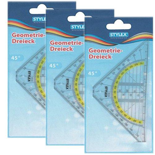 Sparpaket: 3 x Stylex Geometrie-Dreieck Geodreieck Zeichengerät 16 cm, 37020