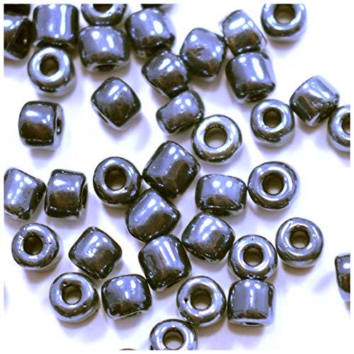 Générique – Lote de 150 cuentas de rocalla, 4 mm, irregulares, de colores, 4 mm, suministros de joyas (negro antracita brillante)