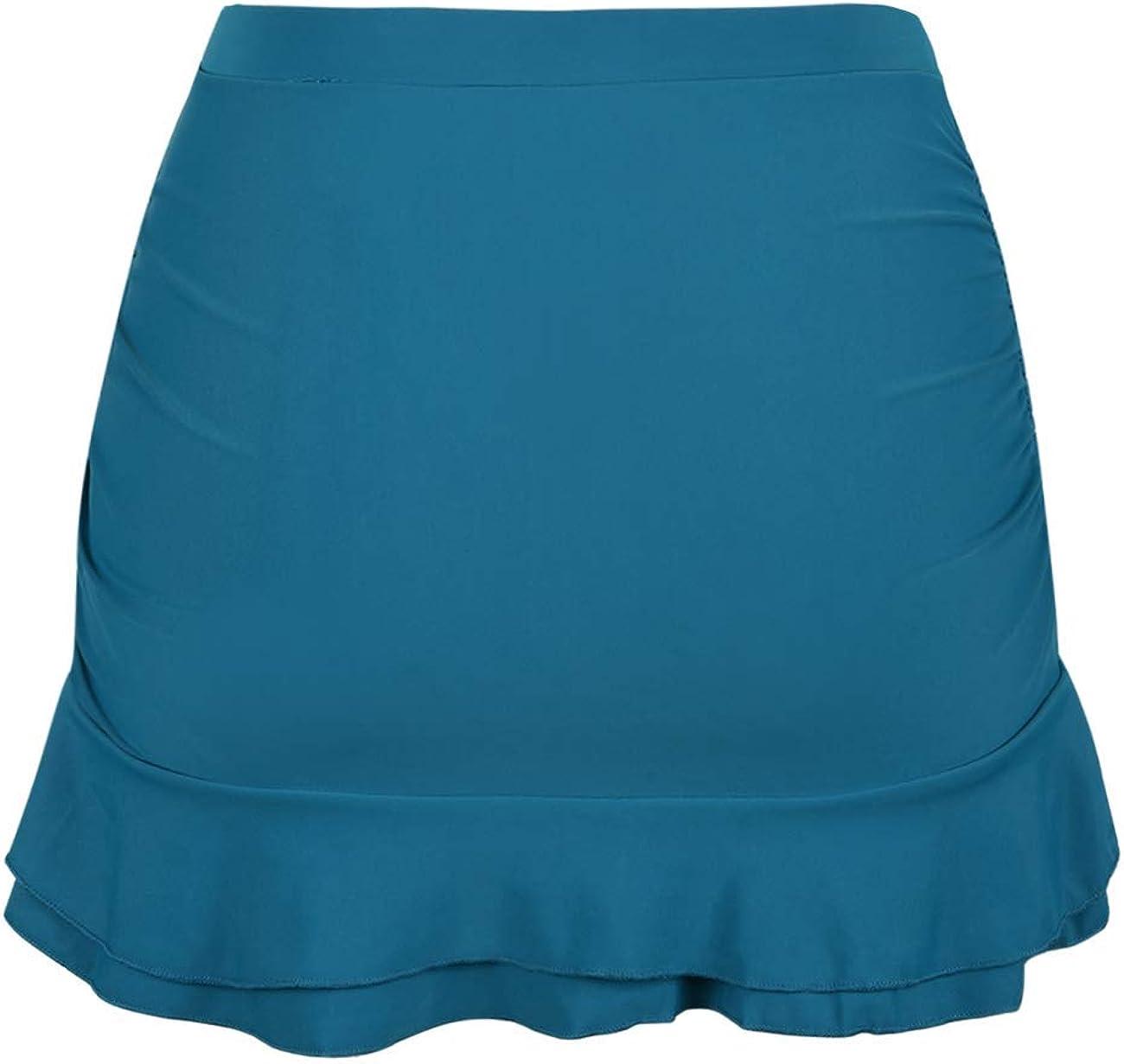Hilor Womens Skirted Bikini Bottom High Waisted Shirred Swim Bottom Ruffle Swim Skirt